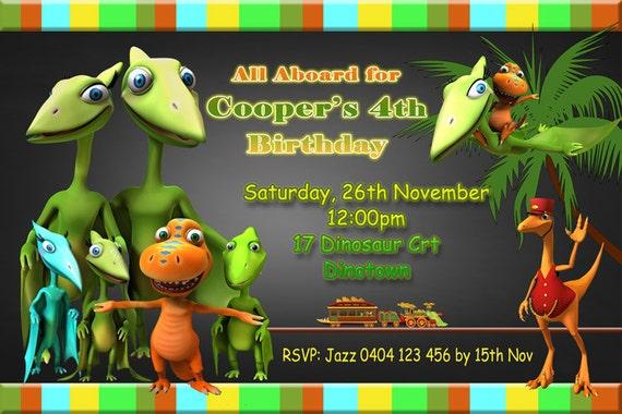 Dinosaur Train Birthday Party Invitation 4 X 6 Or 5 7 Size