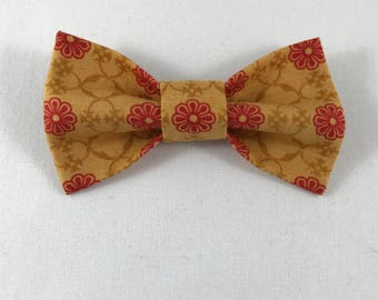 Red Flowers on Beige Cat Bow tie, Cat tie, Cat Bow tie collar-- ONLY ONE AVAILABLE