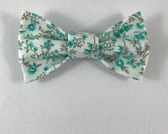 Teal Floral Cat Bow tie, Cat tie, Cat Bow tie collar