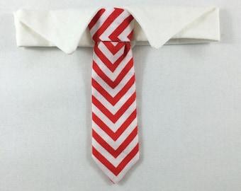 Red Chevron Skinny Cat Tie, Cat Necktie, Cat Necktie collar