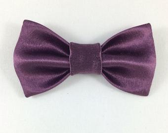 Purple Satin Bow tie, Cat tie, Cat Bow tie collar, Wedding Cat Bow tie