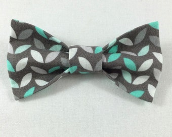 Gray and Teal Cat Bow tie, Cat tie, Cat Bow tie collar-- LAST TWO AVAILABLE