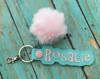 PomPom Name Tag for Backpack, Personalized Luggage Tag, Key Chain Fob, Air Pod Case, Zipper Pull Charm, ID Snap Tab