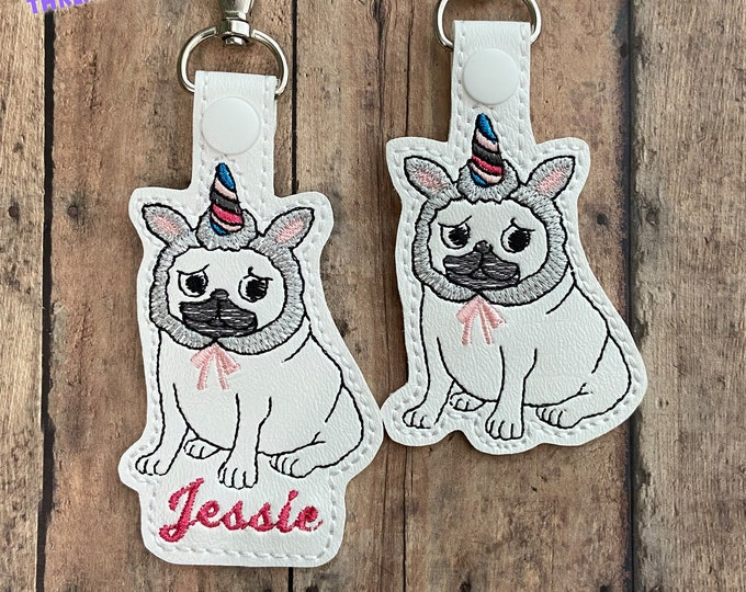 Pug Dog Unicorn Bag Tag / Zipper Pull Key Chain - Custom Snap Top Bag Tag for Backpack