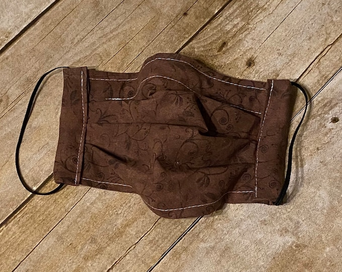 Face Mask - Antique Brown - 100% Cotton cloth face protection with filter pocket and nose wire