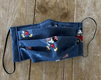 Face Mask - Patriotic Mouse on Denim Blue  - 100% Cotton cloth face protection with filter pocket and nose wire