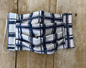Face Mask - Navy Blue and White Plaid - 100% Cotton cloth face protection with filter pocket and nose wire