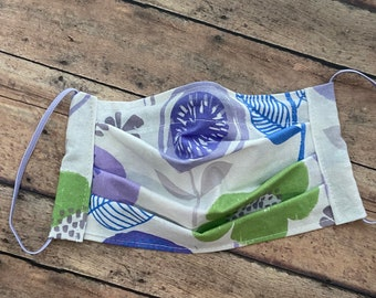 Face Mask - Floral Purple Blue Flowers - 100% Cotton cloth face protection with filter pocket and nose wire