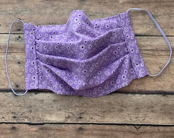 Face Mask - Purple Bandanna - 100% Cotton cloth face protection with filter pocket and nose wire