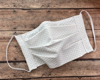 Face Mask - White with white dots - 100% Cotton cloth face protection with filter pocket and nose wire