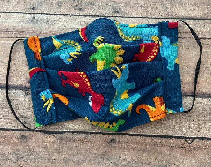 Face Mask - Dinosaurs on Navy - 100% Cotton cloth face protection with filter pocket and nose wire