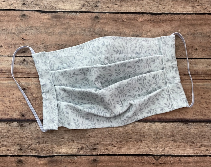 Face Mask - White with Gray Vines - 100% Cotton cloth face protection with filter pocket and nose wire