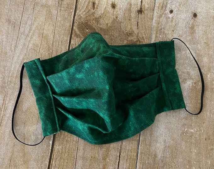 Face Mask - Marble Green - 100% Cotton cloth face protection with filter pocket and nose wire