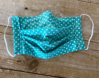 Face Mask - Teal with white dots - 100% Cotton cloth face protection with filter pocket and nose wire