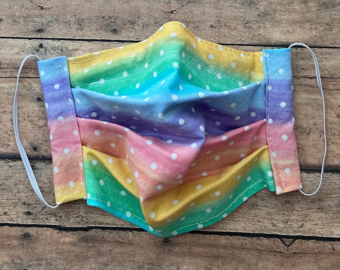 Face Mask - Rainbow Tie Dye with White Polka Dots - 100% Cotton cloth face protection with filter pocket and nose wire