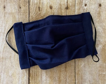 Face Mask - Navy - 100% Cotton cloth face protection with filter pocket and nose wire