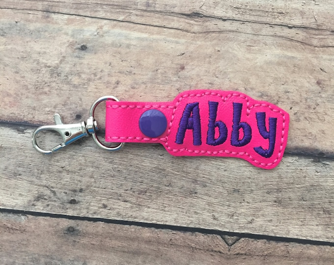 Hot Pink Name Tag for Backpack in Hot Pink