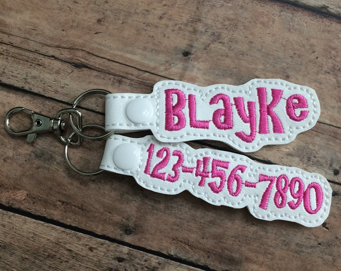 Name and Phone Number Tag for Backpack