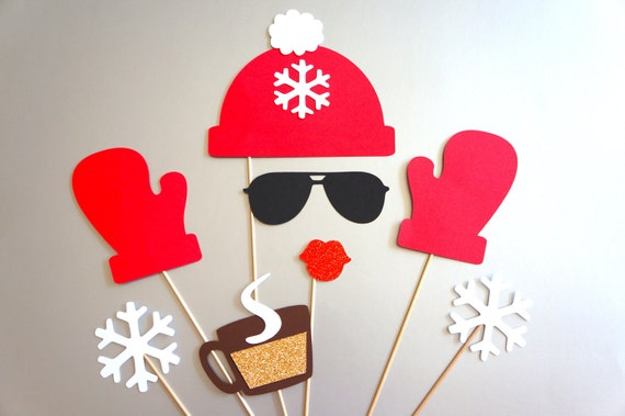 Snow Gloves and Hot Chocolate Ski Winter Photo Booth Props Hat