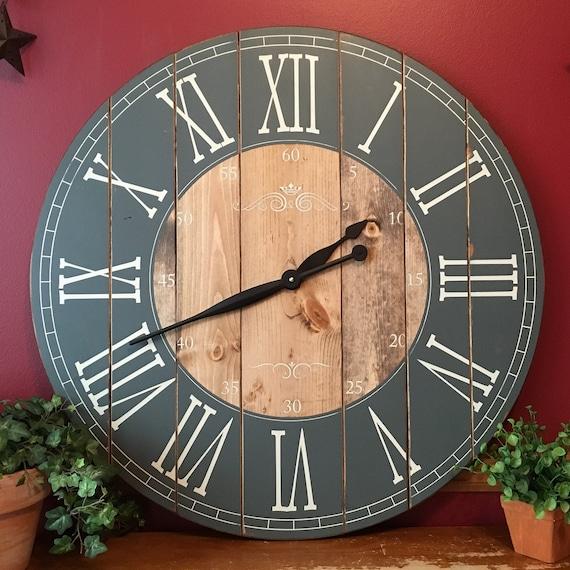 32 inch wall clock nautical etsy image 32 inch farmhouse clock rustic wall large
