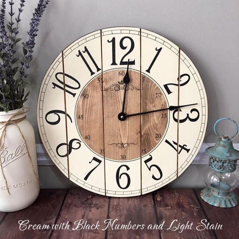 16 Inch Wooden Farmhouse Clock  Arabic Numbers  Rustic Wall image 0
