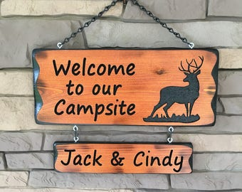 Camping Sign with Deer and Name Sign #017