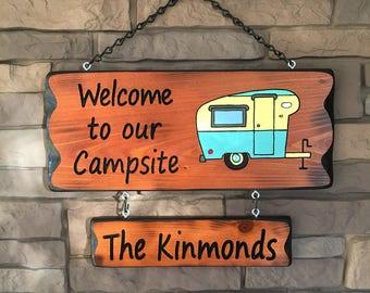 Camper Sign with Vintage Camper #008