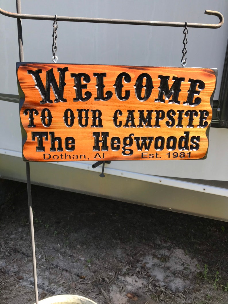 Cedar Camping Sign With Your Name #001