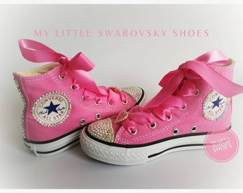 3f06efebd09d Converse Cristallized Swarovski Rhinestone Diamond Strass Toddler kids  shoes Bling Bling Glitter Girls
