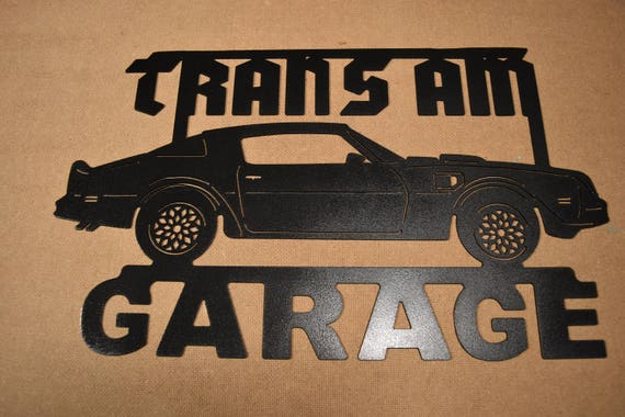 Firebird Personalized Garage Trans Am Pontiac  Metal Logo Black 3