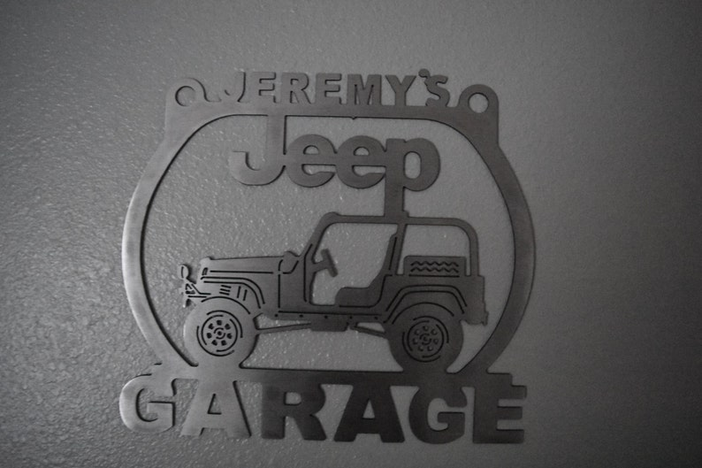 Jeep Wrangler TJ Brushed Steel Metal Garage sign Any Name On Top