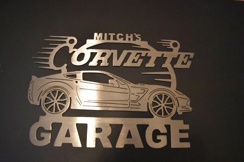 Corvette Garage sign Brushed Steel C3 Personalized Sign