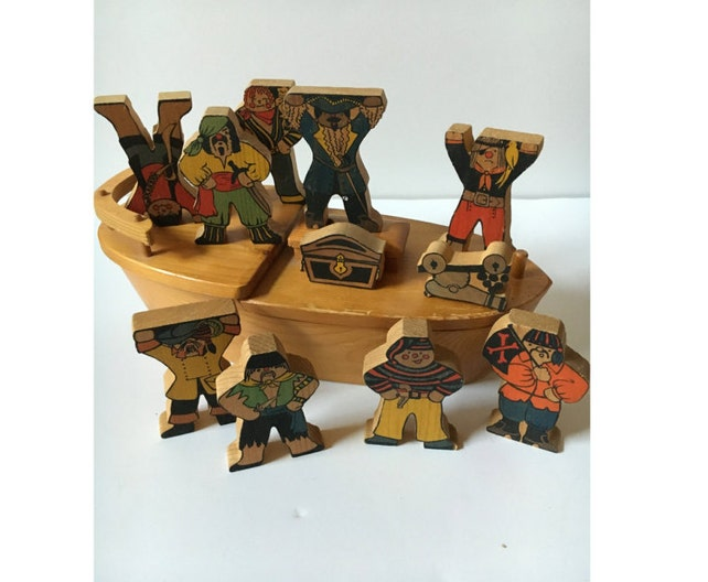 Vintage wooden 11 piece pirates and wooden ship kids toys. | Etsy