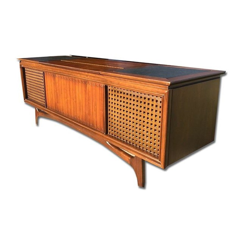 GE Stereo Console // Mid Century Modern // Repurposed With All New MODERN  Electronics // New Turntable // Bluetooth Amplifier