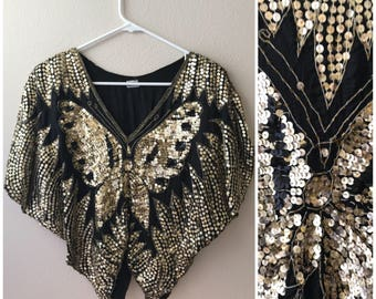 Festival top Sequin butterfly poncho 235786638