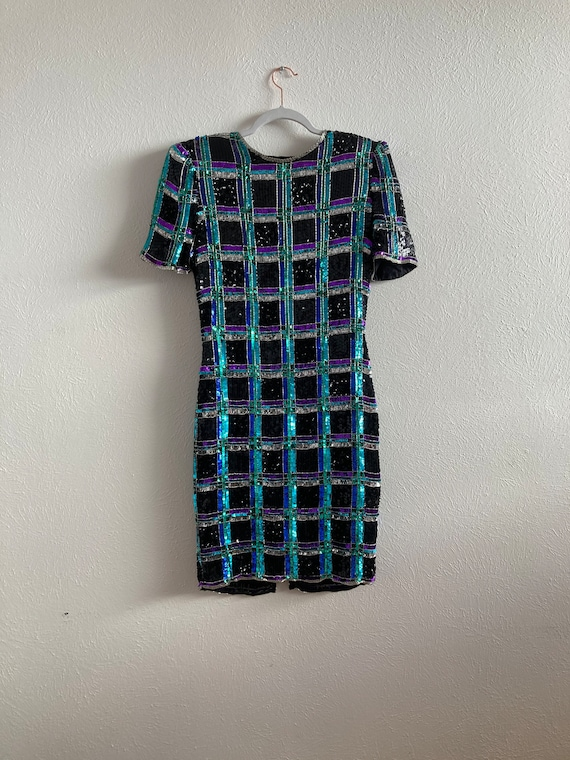 Sequin checkered dress size 6 Leslie fay silk dres