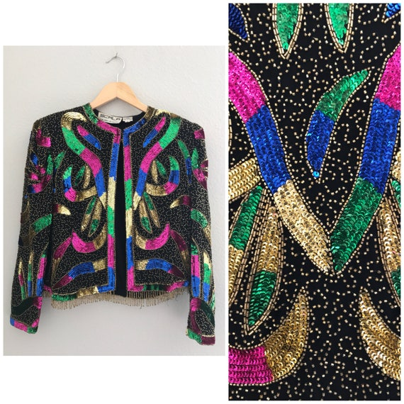 Vintage small sequin bolero jacket, colorful sequi