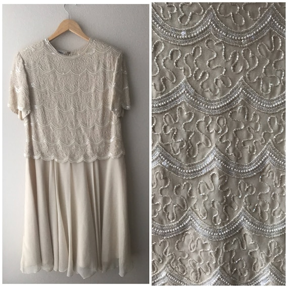 beaded white dress, XL white and ivory iridescent
