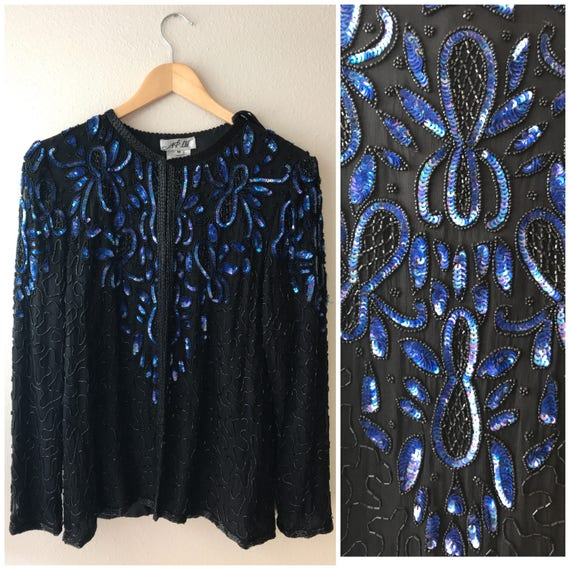 Vintage Black Sequin cardigan Blue Sequin Jacket,