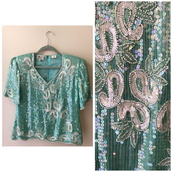 Tiffany blue vintage sequin two-piece outfit , vin