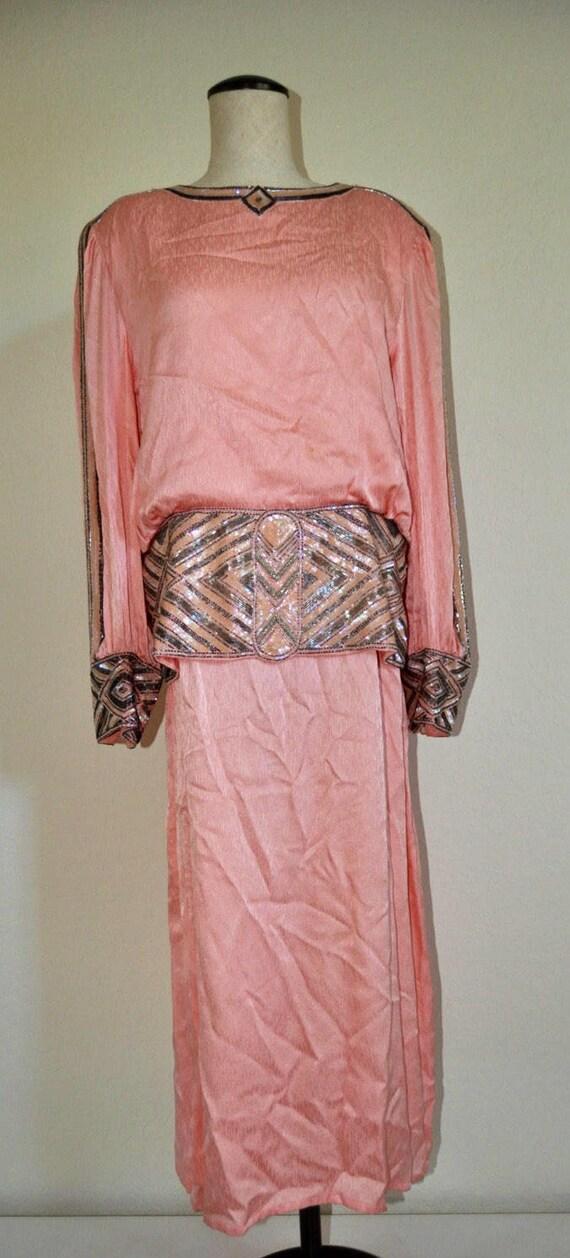 Blush Pink Vintage Beaded Dress, vintage pink gown