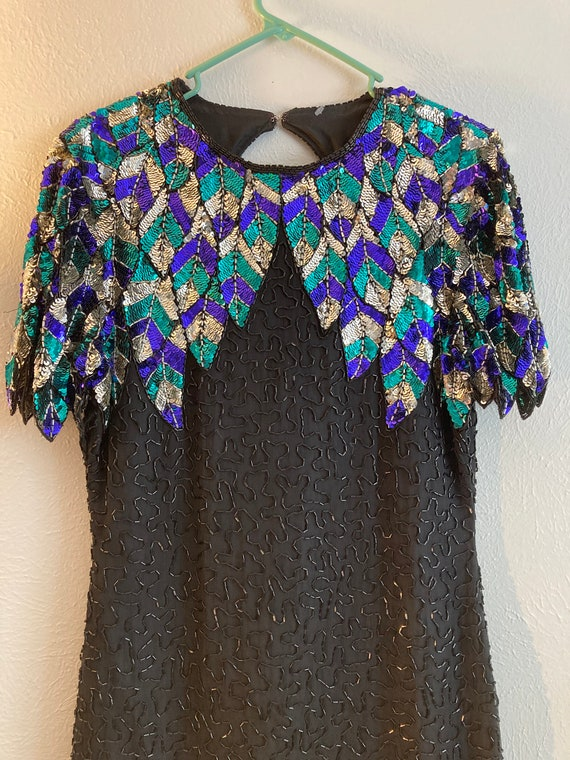 Green and purple sequin vintage dress