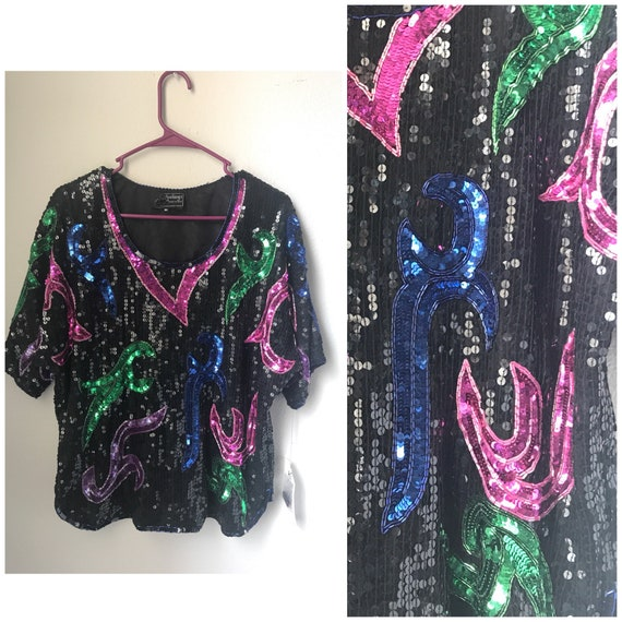 Colorful sequin party top , vintage sequin top , r