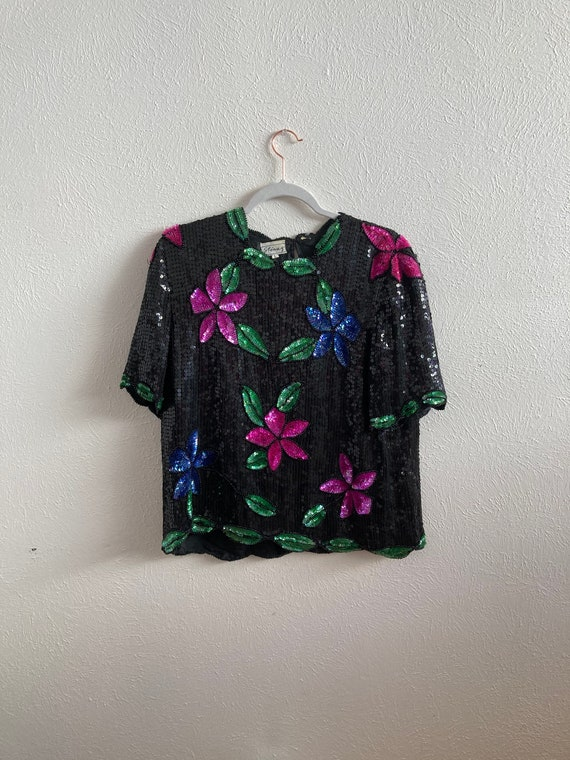 Large Stenay floral sequin top