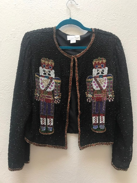 Beaded nutcracker christmas cardigan