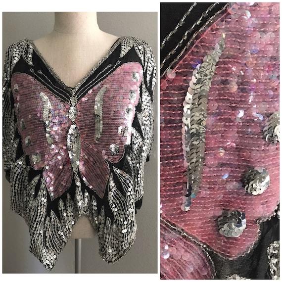 Pink Festival sequin top, butterfly top, pink butt