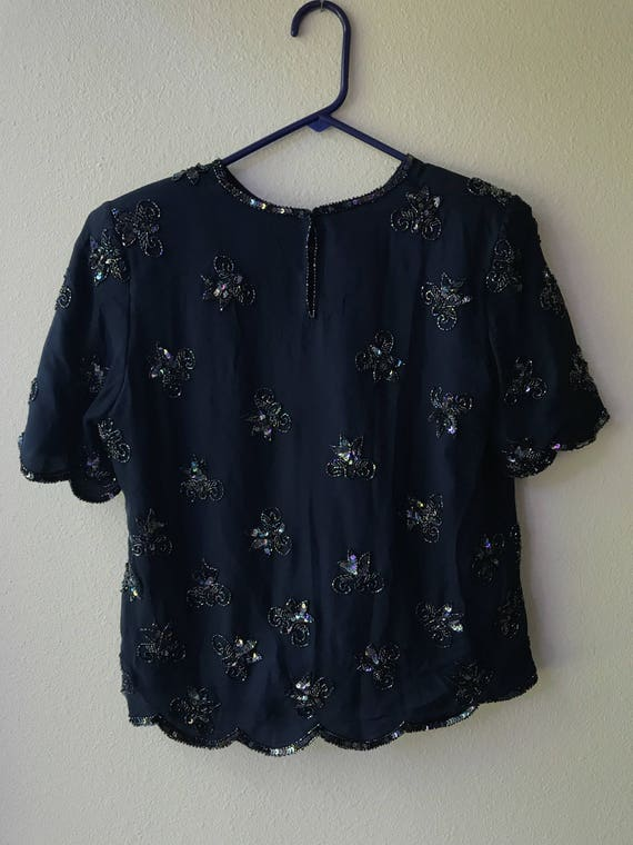 Blue Beaded top, sequin top, vintage sequin top, … - image 3