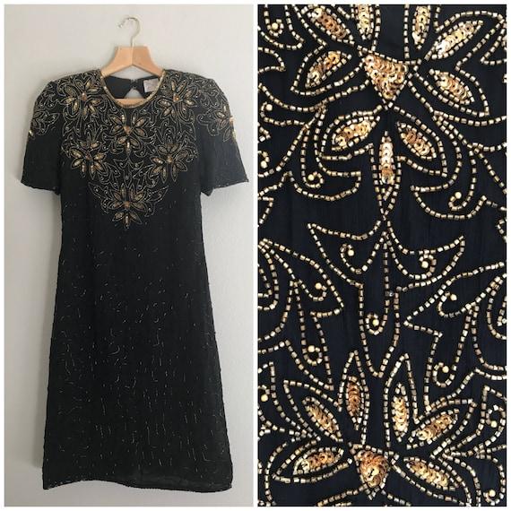 Small Gold Beaded Vintage Dress, sequin dress, gol