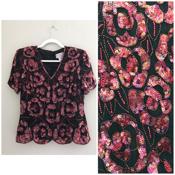 Pink/ red floral sequin top , holiday sequin top,