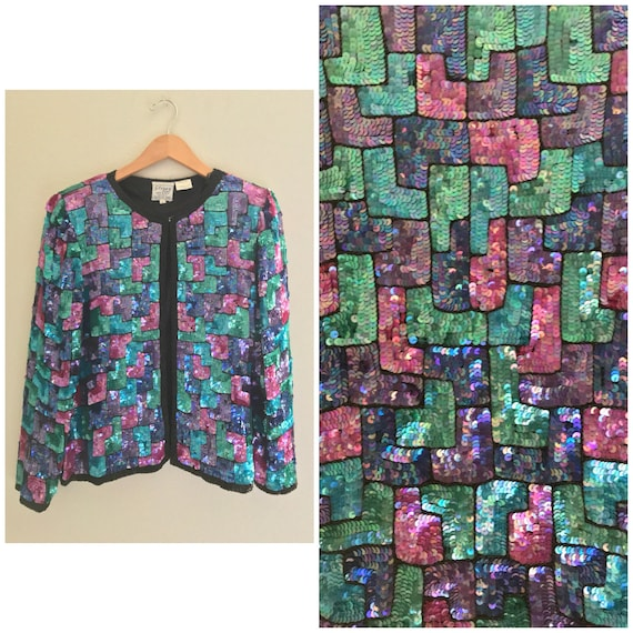 Colorful Pattern Vintage Sequin Jacket ,sequin par